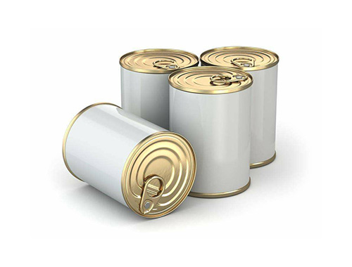 Four aluminum cans in white background