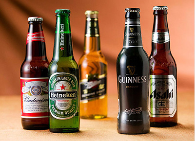 Five beer bottles in different brands