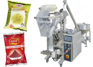 A powder packaging machine with two packs of snacks