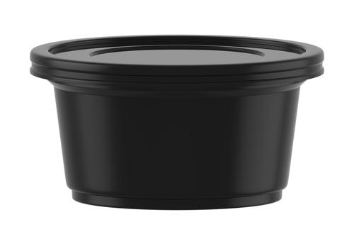 3D rendering Black plastic tub bucket container_734064103