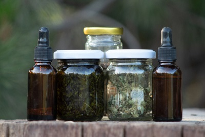 Jars and droppers containing high cbd cannabis buds and extracts made with alcohol_1571094850