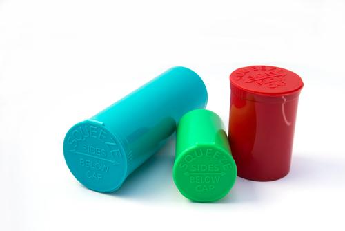 Marijuana containers plastic pop top jars