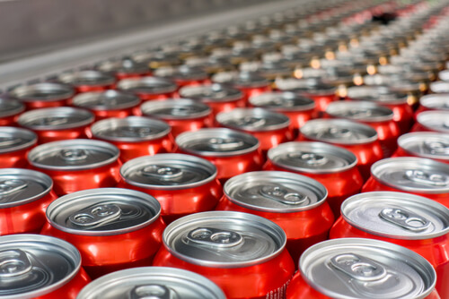 Top view of Aluminum cans in the market