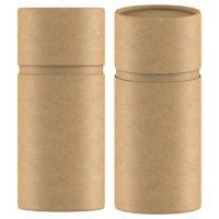 3D rendering Kraft paper tube packaging mock up on white background_1135851803
